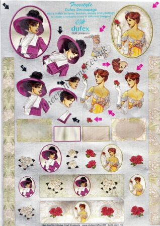 Edwardian Ladies Freestyle 3d Die Cut Decoupage Sheet From Dufex